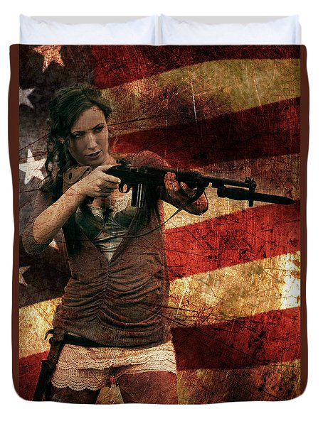 M1 Carbine On American Flag Duvet Cover