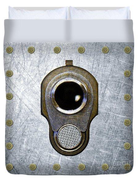 M1911 45 Framed With 45 Case Heads Duvet Cover