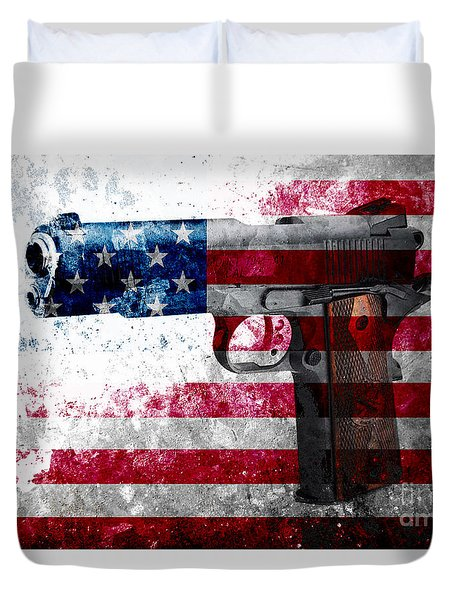 M1911 Colt 45 And American Flag On Distressed Metal Sheet Duvet Cover