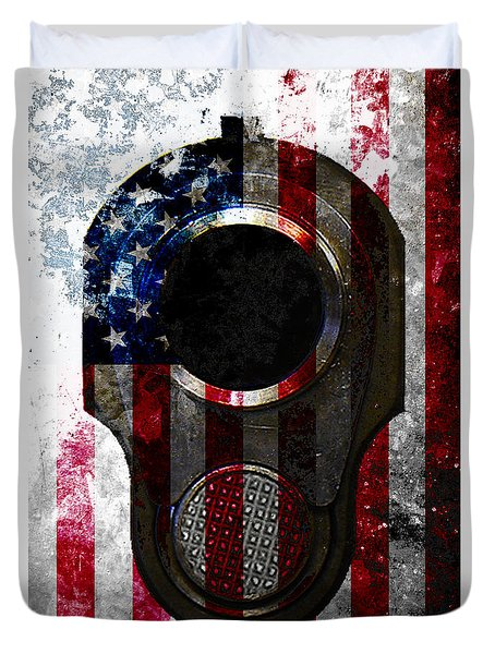 M1911 Colt 45 Muzzle And American Flag On Distressed Metal Sheet Duvet Cover