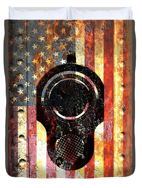 M1911 Colt 45 On Rusted American Flag Duvet Cover
