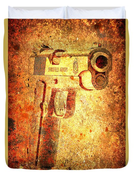 M1911 Muzzle On Rusted Background 3/4 View Duvet Cover