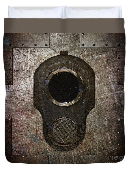 M1911 Muzzle On Rusted Riveted Metal Dark Duvet Cover