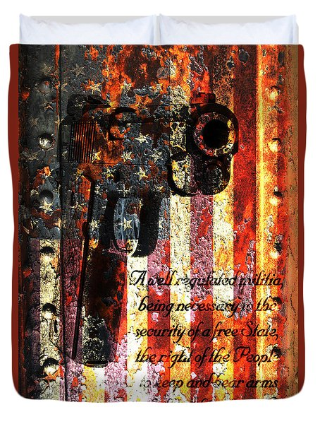 M1911 Pistol And Second Amendment On Rusted American Flag Duvet Cover