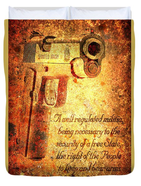 M1911 Pistol And Second Amendment On Rusted Overlay Duvet Cover
