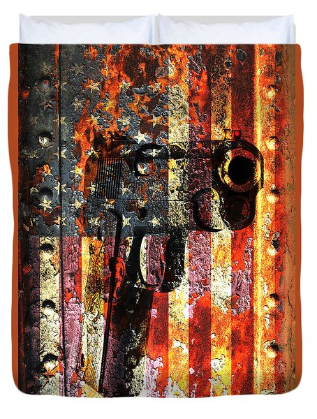 M1911 Silhouette On Rusted American Flag Duvet Cover