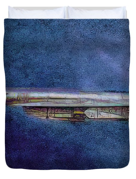Duvet Cover featuring the painting M50 Myasishchev  by Michael Cleere