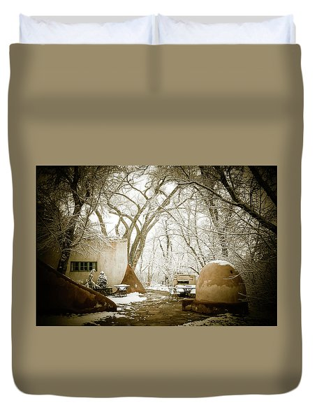 Duvet Cover featuring the photograph Mabel Luhan Dodge Home Exterior by Marilyn Hunt