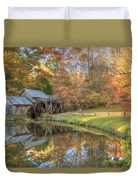 Duvet Cover featuring the photograph Mabry Mill. Blue Ridge Parkway by Doug McPherson