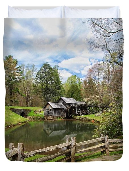 Mabry Mill In The Spring Duvet Cover