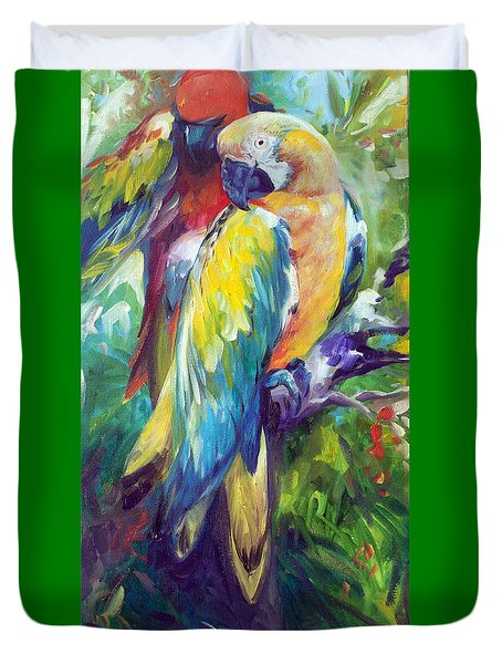 Macaw Pair Duvet Cover by Marcia Baldwin