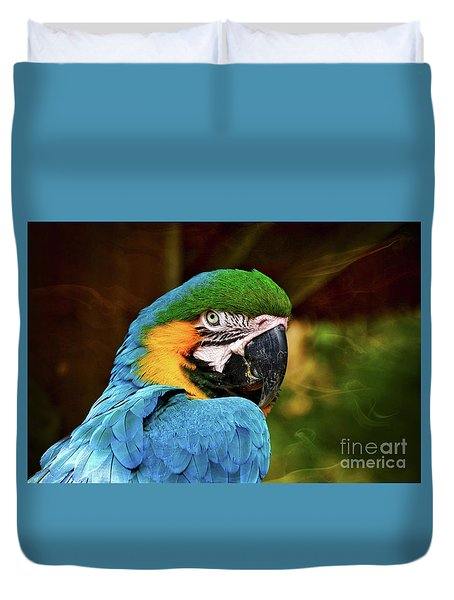 Macaw Portrait Duvet Cover by Kathy Baccari