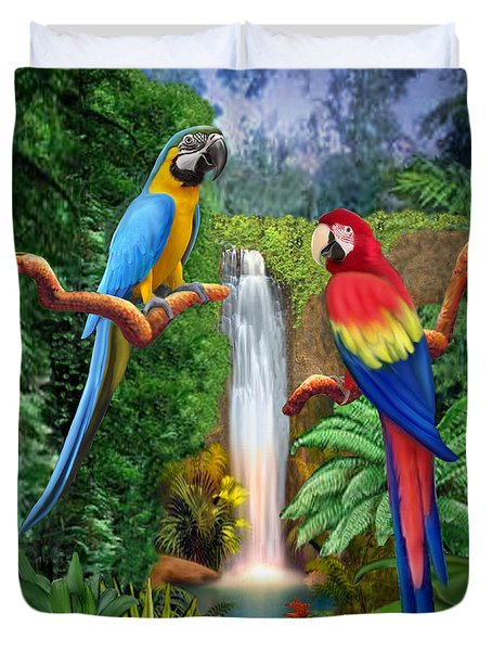 Macaw Tropical Parrots Duvet Cover by Glenn Holbrook