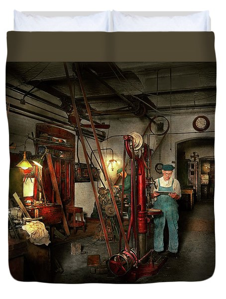 Duvet Cover featuring the photograph Machinist - Government Approved 1919 by Mike Savad