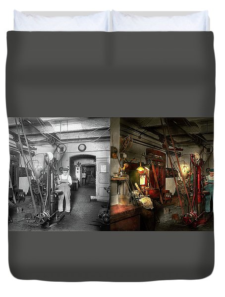 Duvet Cover featuring the photograph Machinist - Government Approved 1919 - Side By Side by Mike Savad