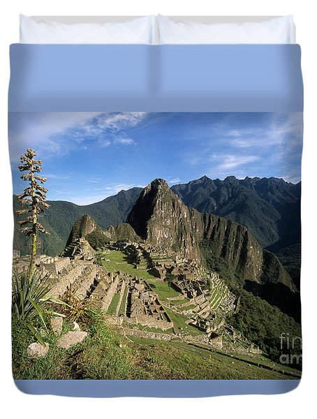 Machu Picchu And Bromeliad Duvet Cover by James Brunker