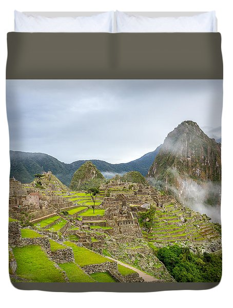 Duvet Cover featuring the photograph Machu Picchu. by Gary Gillette
