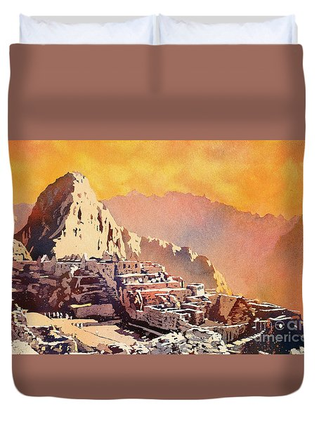 Duvet Cover featuring the painting Machu Picchu Sunset by Ryan Fox