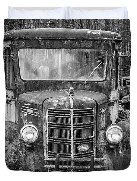 Mack Truck In A Junkyard Duvet Cover