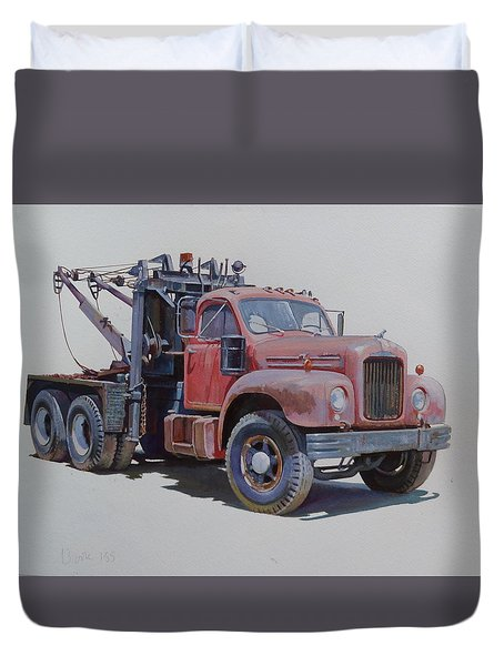 Duvet Cover featuring the painting Mack Wrecker. by Mike  Jeffries