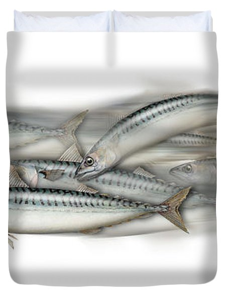 Mackerel School Of Fish - Scomber - Nautical Art - Seafood Art - Marine Art -game Fish Duvet Cover