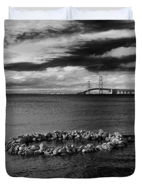 Mackinac Bridge - Infrared 03 Duvet Cover