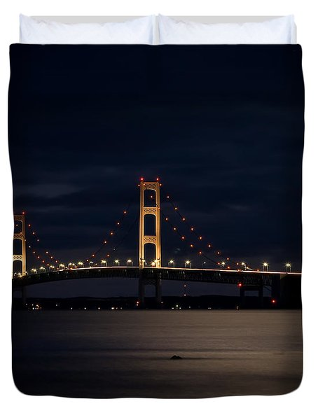 Mackinac Bridge At Night Duvet Cover