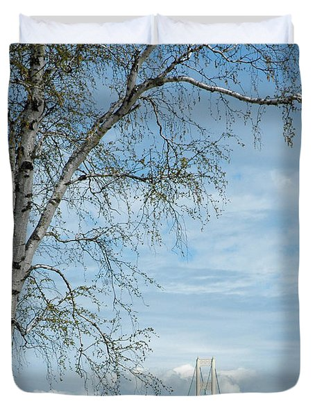 Mackinac Bridge Birch Duvet Cover