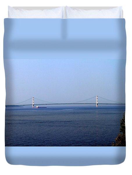 Duvet Cover featuring the photograph Mackinac Bridge by Farol Tomson