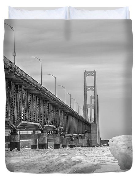 Duvet Cover featuring the photograph Mackinac Bridge Icy Black And White  by John McGraw