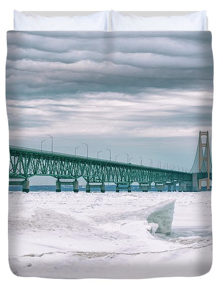 Duvet Cover featuring the photograph Mackinac Bridge In Winter During Day by John McGraw