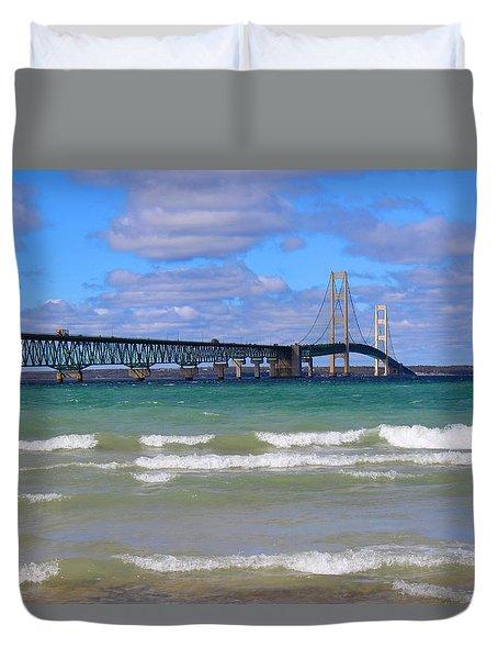 Mackinac Bridge Duvet Cover by Michael Rucker