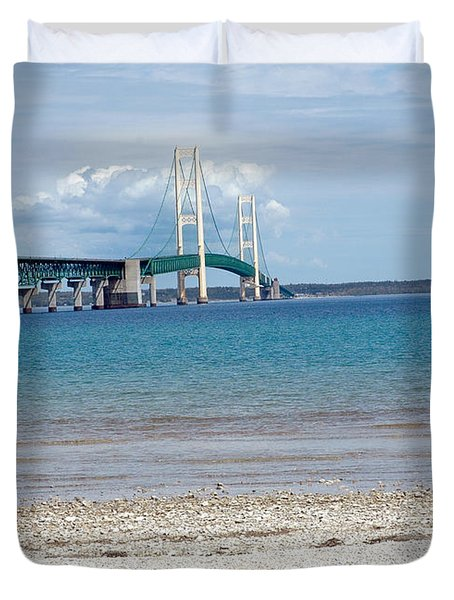 Duvet Cover featuring the photograph Mackinac Bridge Path To Lake by LeeAnn McLaneGoetz McLaneGoetzStudioLLCcom