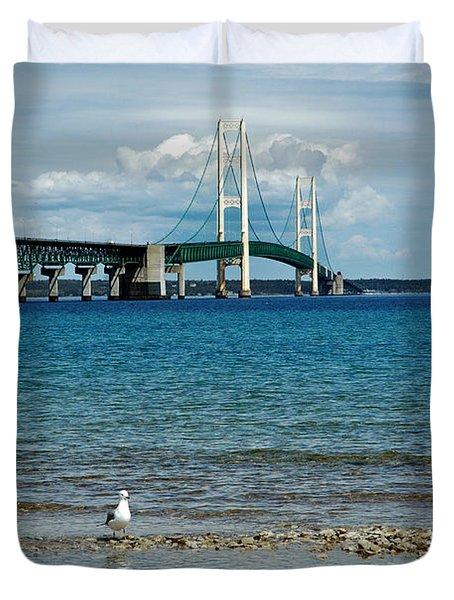 Duvet Cover featuring the photograph Mackinac Bridge Private Seagull Beach by LeeAnn McLaneGoetz McLaneGoetzStudioLLCcom