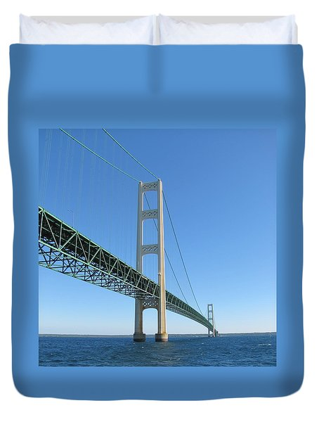 Mackinac Bridge Towers Duvet Cover