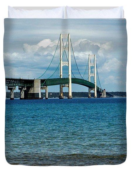 Duvet Cover featuring the photograph Mackinac Bridge With Seagull by LeeAnn McLaneGoetz McLaneGoetzStudioLLCcom