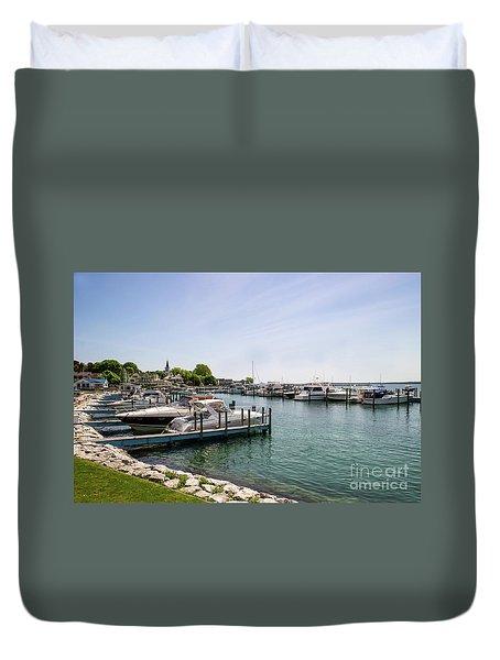 Mackinac Island Marina Duvet Cover