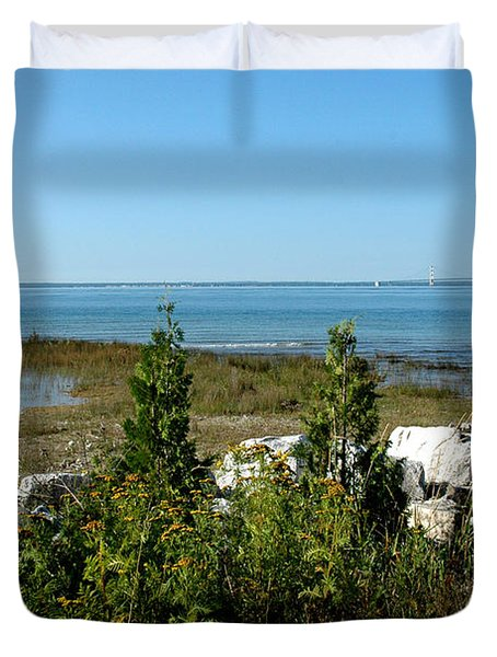 Duvet Cover featuring the photograph Mackinac Island View Of Bridge by LeeAnn McLaneGoetz McLaneGoetzStudioLLCcom