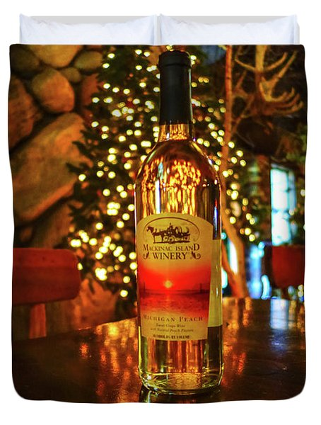 Mackinac Island Wine Bottle Duvet Cover