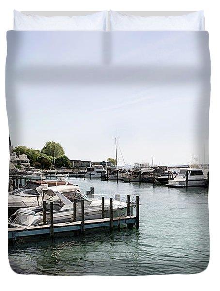 Mackinac Marina Art Duvet Cover