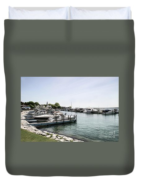 Mackinac Marina Art Duvet Cover