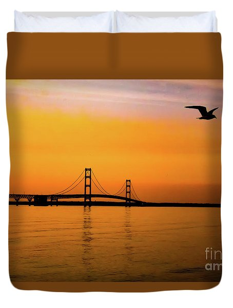 Mackinaw Sunset  Duvet Cover