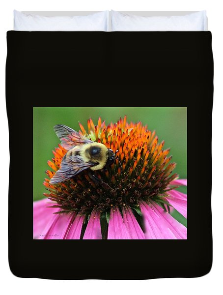 Duvet Cover featuring the photograph Macro Bee by Debra     Vatalaro