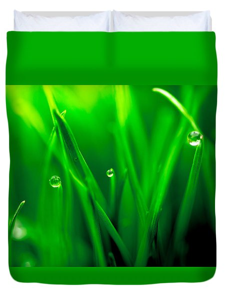 Macro Image Of Fresh Green Grass Duvet Cover