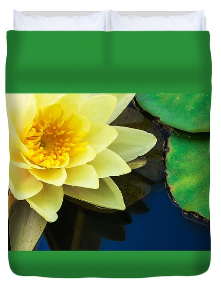 Macro Image Of Yellow Water Lilly Duvet Cover by John Williams