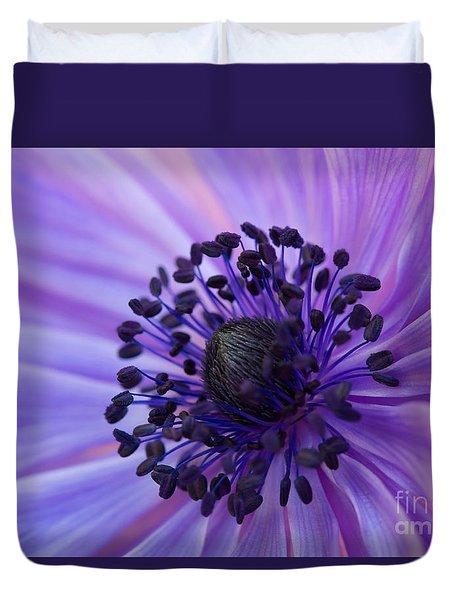 Macro Of Lavender Purple Anemone Duvet Cover