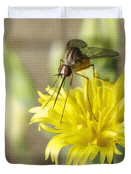 Macro Photography Of A Mosquito Over A Lettuce Flower Duvet Cover by Claudia Ellis
