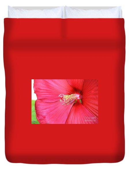 Macro Red Hibiscus Duvet Cover by Marsha Heiken