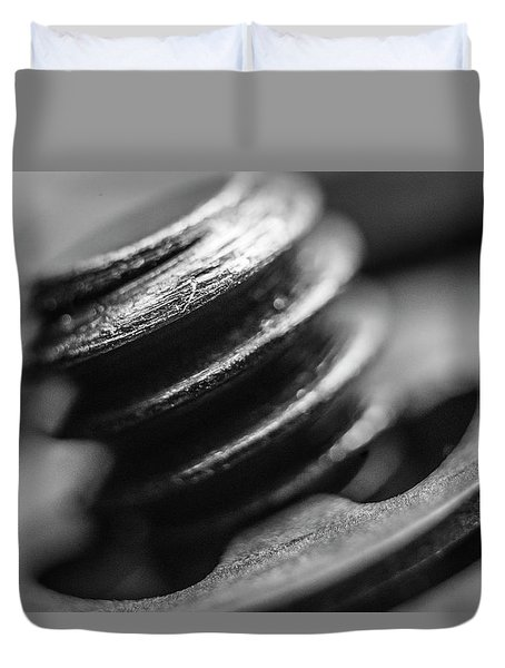 Duvet Cover featuring the photograph Macro Screw Bolt Black White by David Haskett