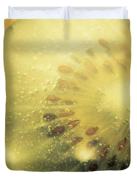 Macro Shot Of Submerged Kiwi Fruit Duvet Cover